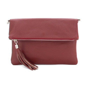 Foldover Clutch - Natural Leather - Red