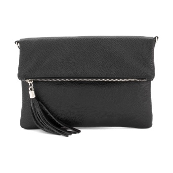 Foldover Clutch - Natural Leather - Black