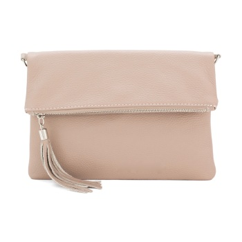 Foldover Clutch - Natural Leather - Blush