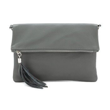Foldover Clutch - Natural Leather - Grey