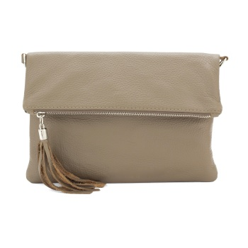 Foldover Clutch - Natural Leather - Taupe