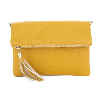 Foldover Clutch - Natural Leather - Mustard