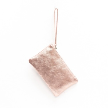 Leather Clutch Bag - Small - Rose Gold