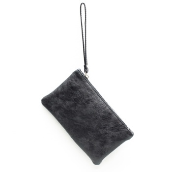 Leather Clutch Bag - Small - Black
