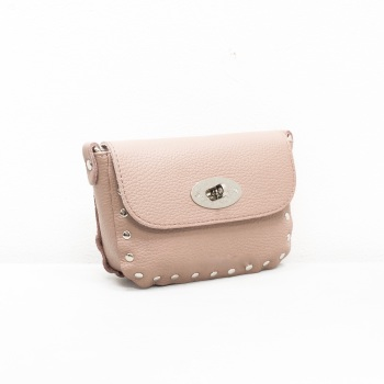 Studded Crossbody Twistlock - Leather Bag - Nude