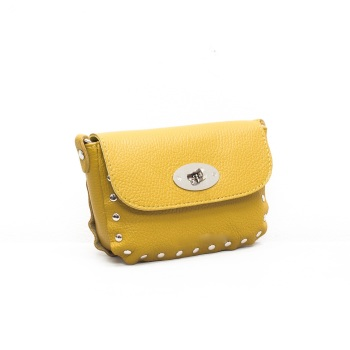Studded Crossbody Twistlock - Leather Bag - Mustard