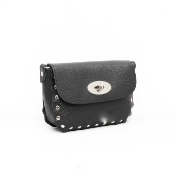 Studded Crossbody Twistlock - Leather Bag - Black