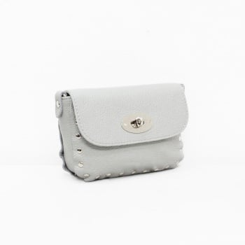 Studded Crossbody Twistlock - Leather Bag - Grey