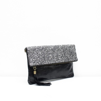 Foldover Clutch - Leather - Silver Glitter
