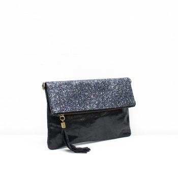 Foldover Clutch - Leather - Navy Glitter