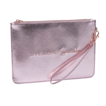 Live, Love, Sparkle - Rose Gold/Pink Pouch Bag