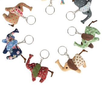 Elephant - Fabric Keyring