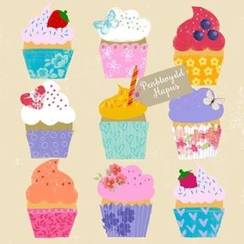 Penblwydd Hapus Cupcakes- Card