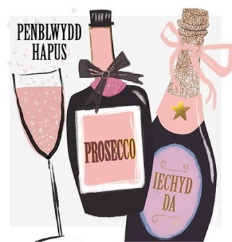 Penblwydd Hapus Prosecco - Card