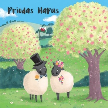 Priodas Hapus Sheep- Card