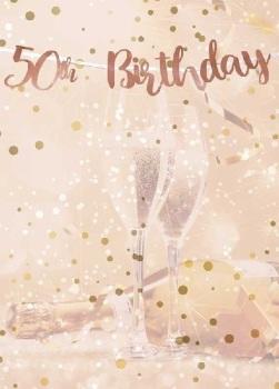 Rose Gold 50th Birthday - Bunting