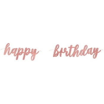 Rose Gold Holographic Happy Birthday - Bunting