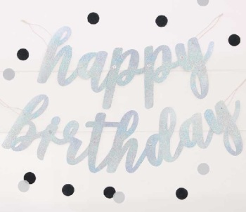 Silver Holographic Happy Birthday - Bunting