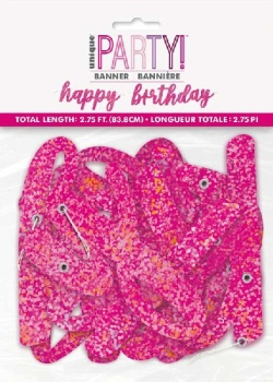 Pink Holographic Happy Birthday - Bunting