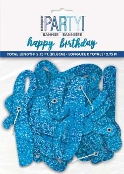 Blue Holographic Happy Birthday - Bunting