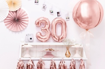Rose Gold Number -  Balloon Bunting