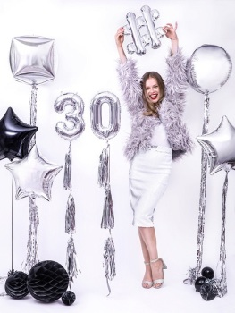 Silver Number -  Balloon Bunting