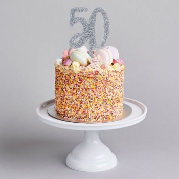 Glittery Acrylic Cake Topper - 50 - Various Colours