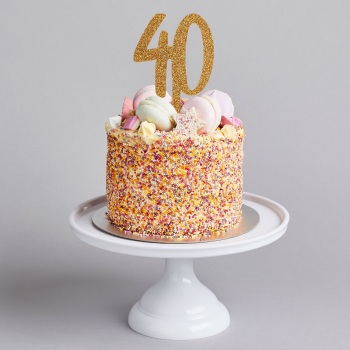 Glittery Acrylic Cake Topper - 40 - Various Colours