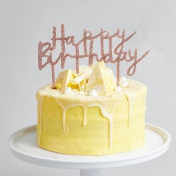 Glittery Acrylic Happy Birthday - Cake Topper - Rose Gold
