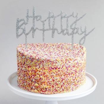 Glittery Acrylic Happy Birthday - Cake Topper - Silver