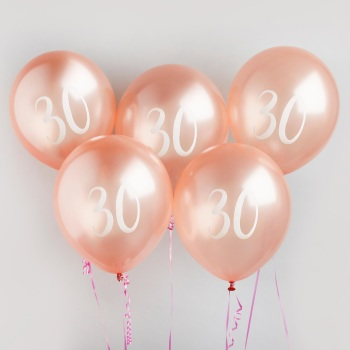 30 Latex Balloons - 5 - Various Colours