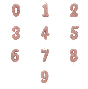 Rose Gold Glittery Number - Candle