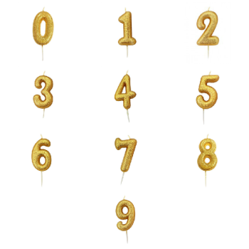 Gold Glittery Number - Candle