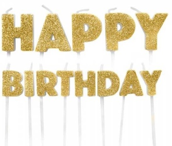 Happy Birthday Candles - Gold