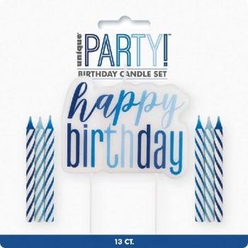Happy Birthday Candles Set - Blue
