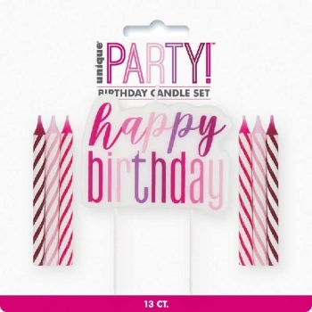 Happy Birthday Candles Set - Pink