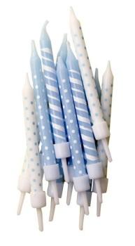 Blue & White Stripe/Spot - Candles