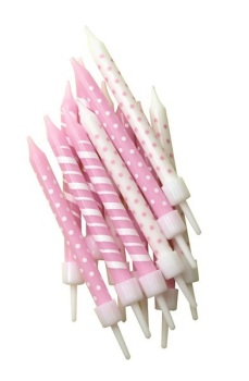 Pink & White Stripe/Spot - Candles