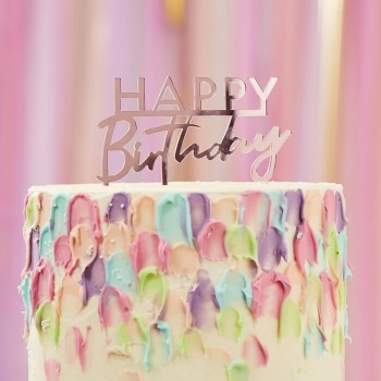 Pink/Rose Gold Acrylic Happy Birthday - Cake Topper