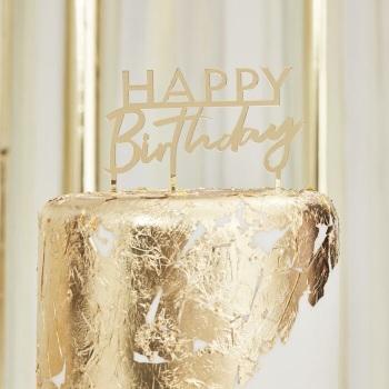 Gold Acrylic Happy Birthday - Cake Topper