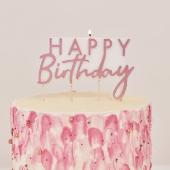 Happy Birthday Candle - Rose Gold