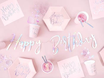 Iridescent Script Happy Birthday - Bunting
