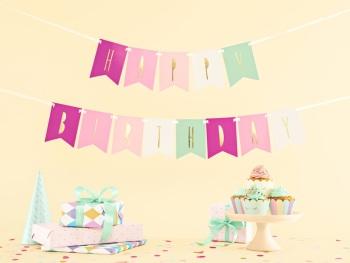 Girl Flag Happy Birthday - Bunting