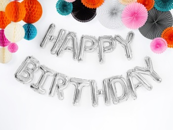 Silver Happy Birthday - Balloon Bunting