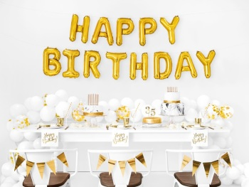 Gold Happy Birthday - Balloon Bunting