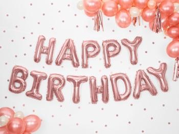 Rose Gold Happy Birthday - Balloon Bunting