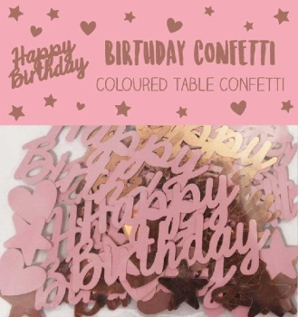 Rose Gold Happy Birthday - Confetti