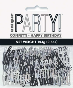Black & Silver Happy Birthday - Confetti