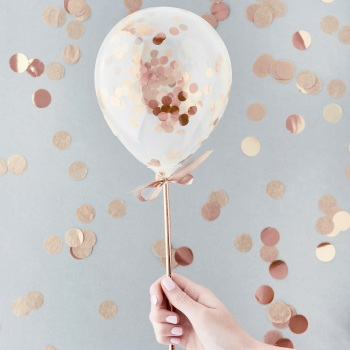 Mini Confetti Balloons - Rose Gold