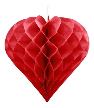 Honeycomb Heart - Red - 30cm